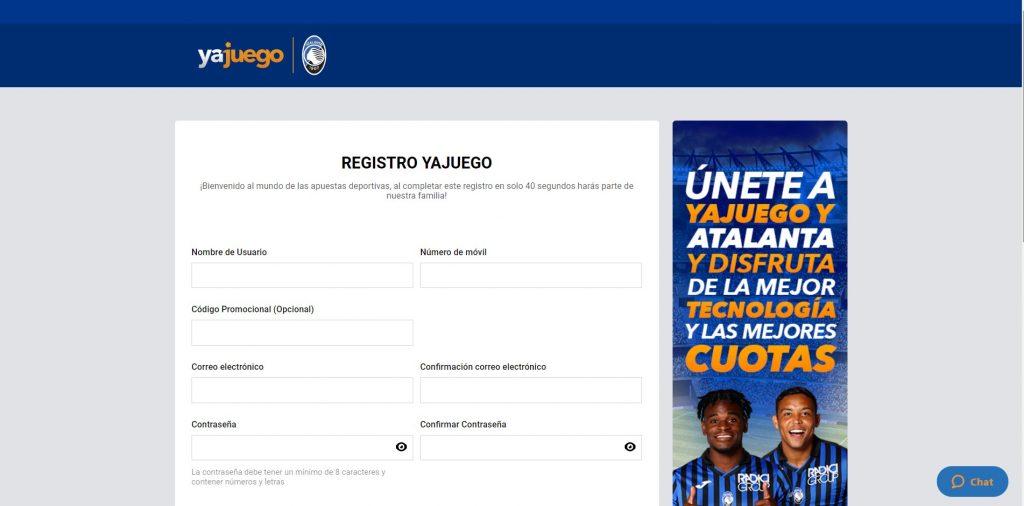 YaJuego registro