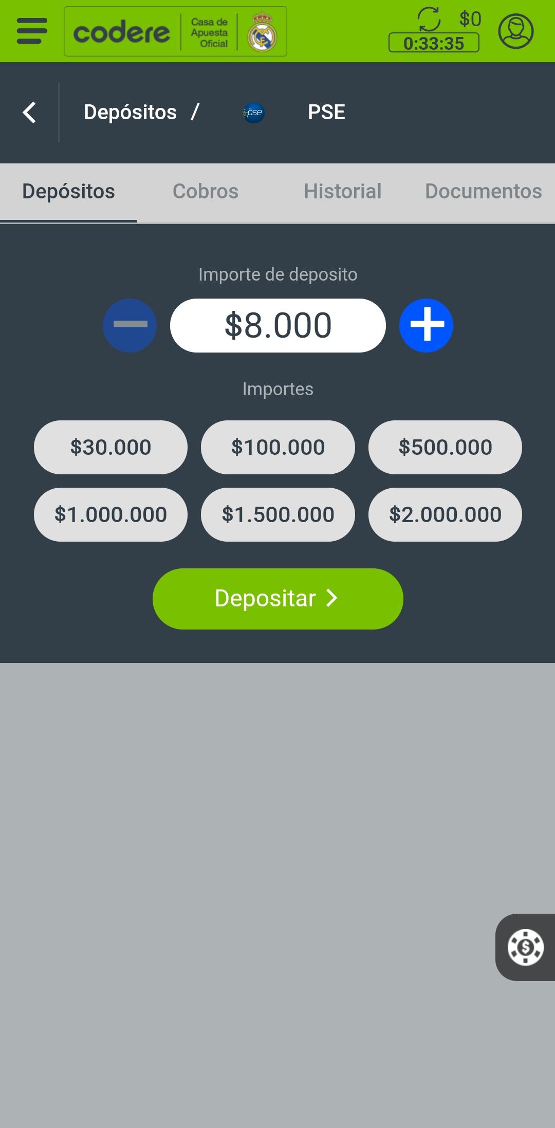 codere app depósito
