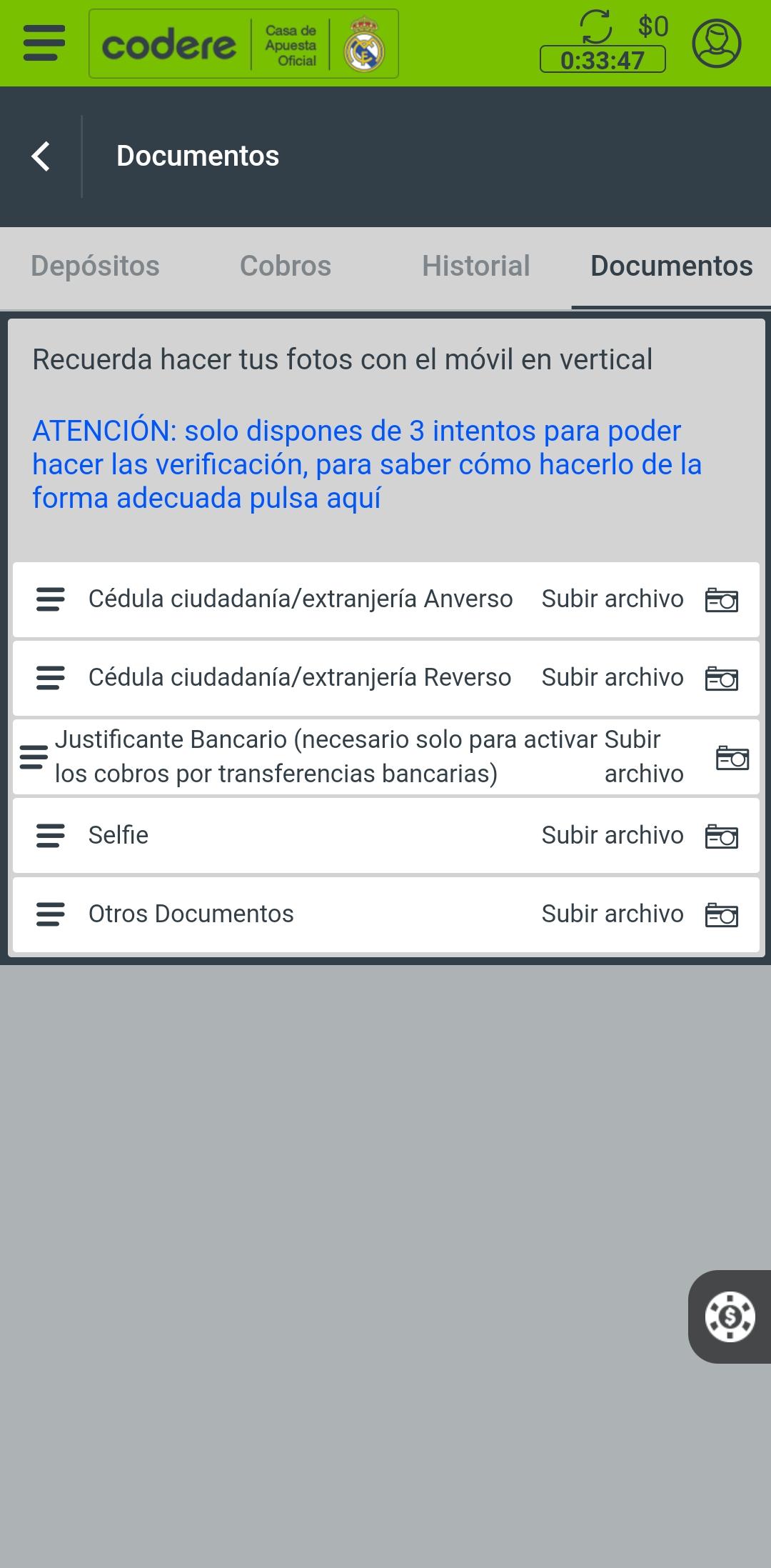 codere app verificación cuenta