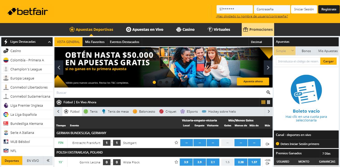Betfair bono de bienvenida Colombia