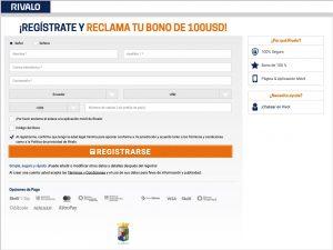 registro código promocional rivalo