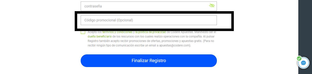 Codigo promocional codere caja opcional