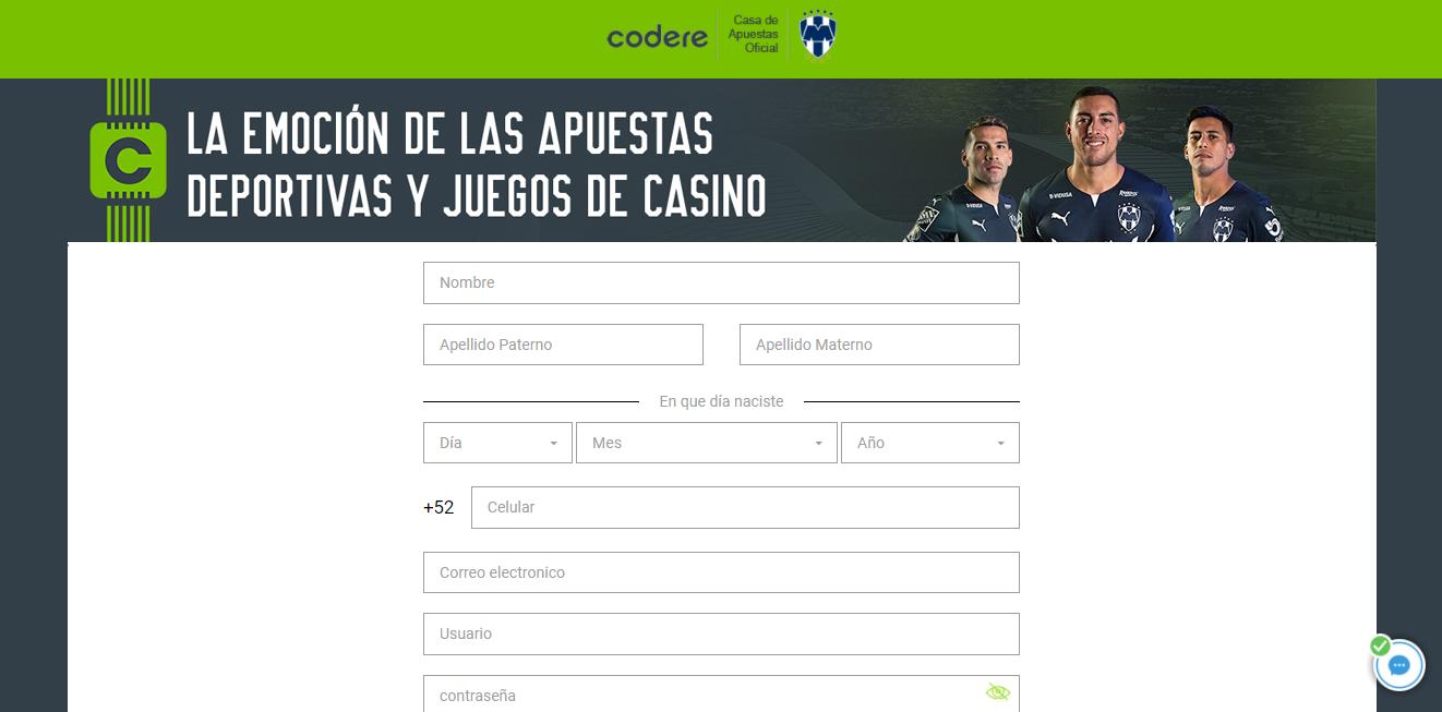 código promocional codere formulario registro