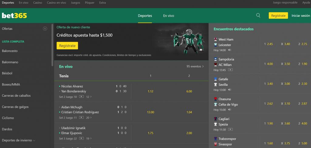 Apuestas de fútbol bet365