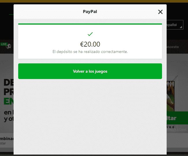 PayPal ingreso exito apuestas