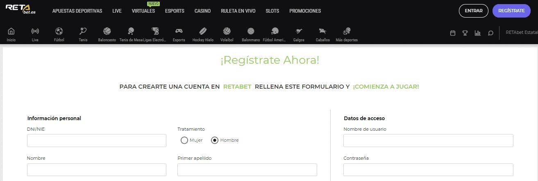 Retabet registro